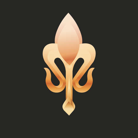 fleur de lis small black gold elegant emblem icon - Vector Stock Illustratie