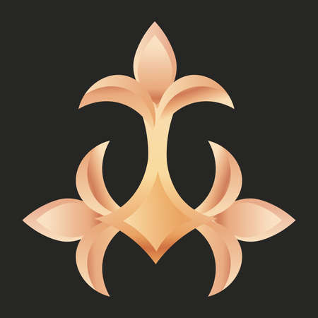 fleur de lis three black gold elegant emblem icon - Vector