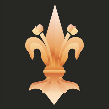 fleur de lis royal black gold elegant emblem icon - Vector