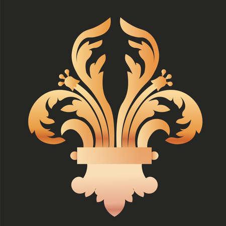 fleur de lis insignia black gold elegant emblem icon - Vector
