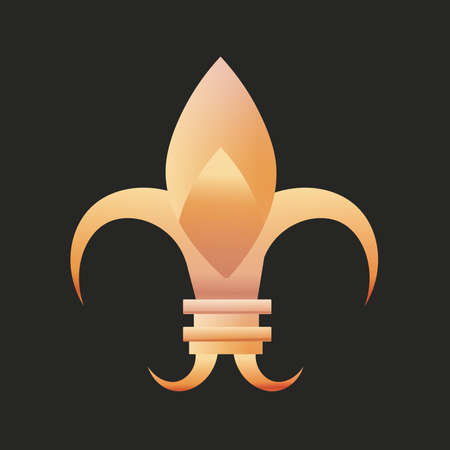 fleur de lis original black gold elegant emblem icon - Vector Stock Illustratie