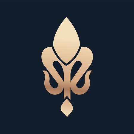 fleur de lis small blue gold elegant emblem icon - Vector