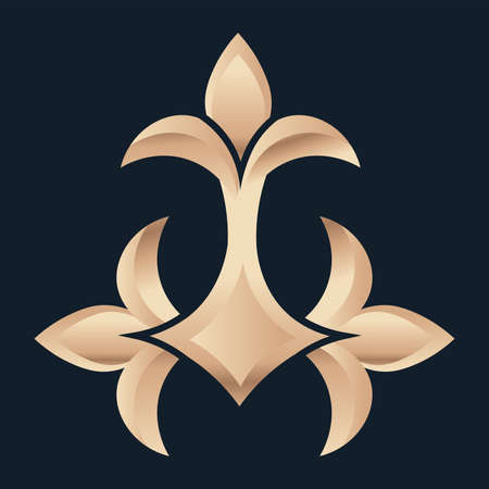 Isolated fleur de lis three blue elegant emblem icon - Vector