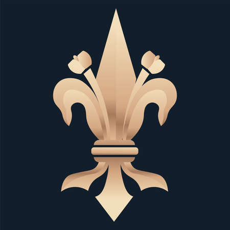 fleur de lis royal blue elegant emblem icon - Vector