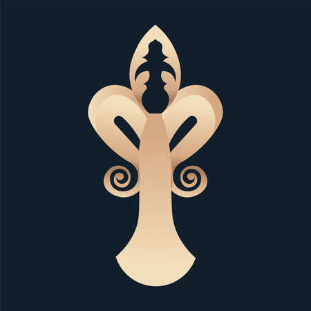 fleur de lis antique blue elegant emblem icon - Vector