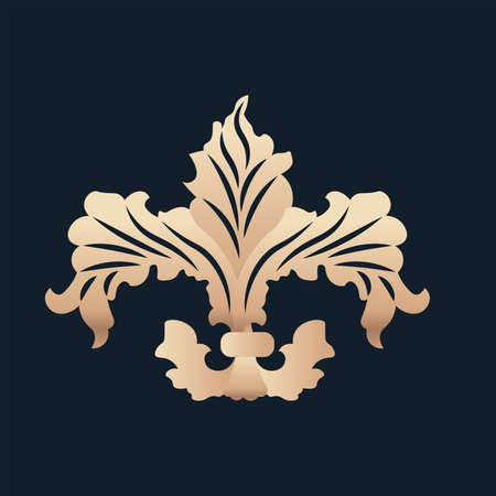 fleur de lis antique blue gold elegant emblem icon - Vector Stock Illustratie