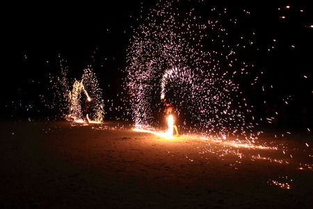 ploy: RAYONG THAILAND- MARCH 5 : Unidentified Showmen of Ploy Talae Restaurant are showing playing with fire at night on March 5,2016 in Samed Island, Rayong, Thailand