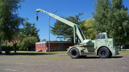 maneuverable: German four wheel crane of the 50th`s Stock Photo