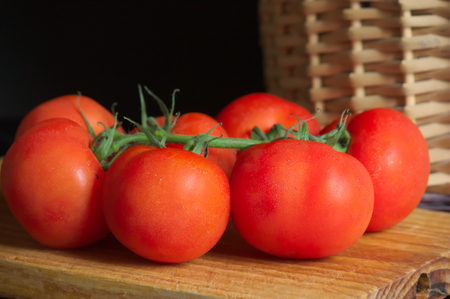 cros: Closeup of a branch of tomatoes