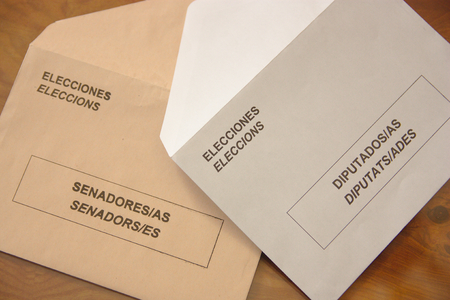 bilingual: Envelopes for Spanish general election 2016. Envelopes the general elections in Spain. Two types of envelopes to elect the representatives of Spanish citizens in Congress and the Senate.