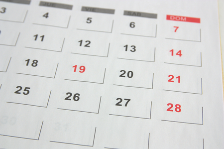 Leaf of a European calendar where Sundays are marked in red, the weeks begin on Monday Stok Fotoğraf