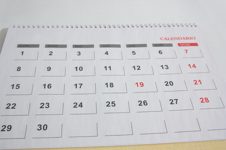 Close-up of a calendar sheet of any month that has thirty calendar days