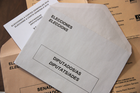 Electoral envelopes for the congress of deputies in Spain. Translation of texts: deputies, senators, councilors, elections
