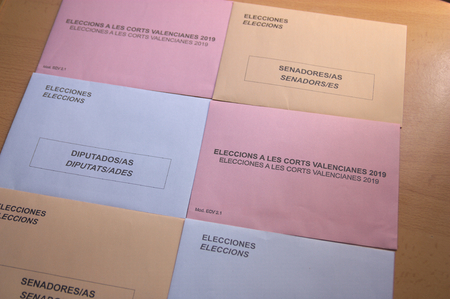 2019, Abril.Valencia, Spain. Electoral envelopes for three elections held in the Comunitat Valenciana on April 28, 2019. General Elections to the Spanish Congress and Senate and to the Autonomous Valencian Parliament.
