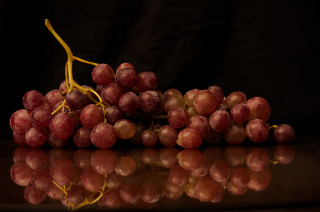 Cluster of black grape on a reflective surface and dark background. Dark photography Banque d'images - 122302234