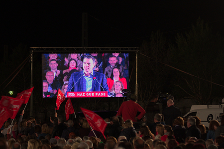 April 2019. Valencia. Spain. Giant screen for the socialist party rally in Valencia in which Pedro S?nchez participated as a candidate for president of Spain.