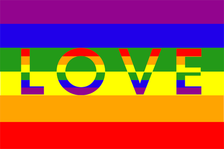 Flag with the word LOVE and the colors of the rainbow, LGTBI movement flag