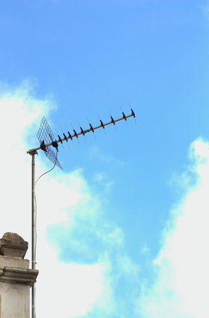 Domestic terrestrial digital television type antenna against blue sky