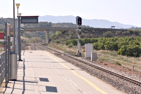 View of a station of the Spanish commuter railroad located in a rural area