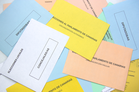 May 2019. Canary Islands, Spain. Multitude of electoral envelopes for the elections of the autonomous community of the Canary Islands in Spain