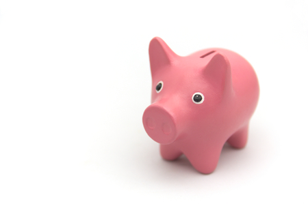 A piggy piggy bank in pink on a white background with room for text on the left