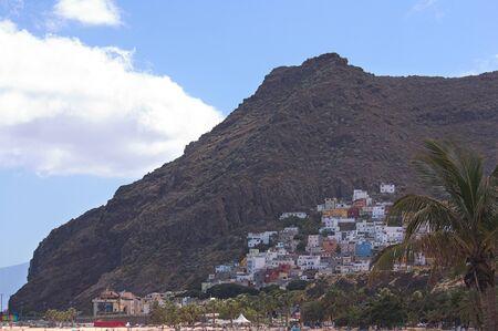 View from the beach of Las Teresitas of the town of San Andrés in Santa Cruz de Tenerife. Spain Stockfoto