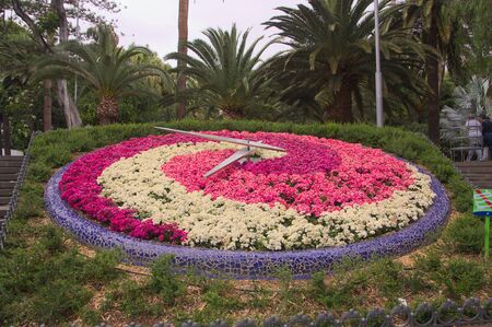 May, 2017. García Sanabria Park in the capital Santa Cruz de Tenerife, Spain. Large clock in a park surrounded by brightly colored flowers that form a concentric spiral Stockfoto