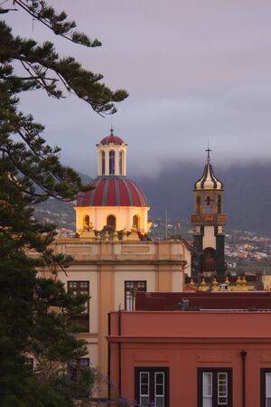 View from a high dome area and the bell tower of the Immaculate Conception church in La Orotava. Santa Cruz de Tenerife, Spain