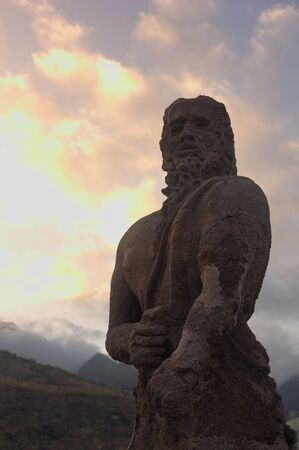 Profile of a statue representing a Mencey, one of the aboriginal kings of the island of Tenerife
