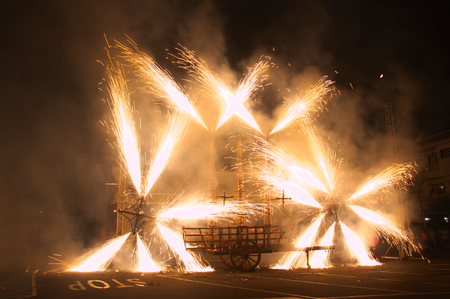 September, 2016. Tegueste, SC de Tenerife, Spain. Fireworks at the Fiestas in Honor of the Virgin of Los Remedios de Tegueste Редакционное