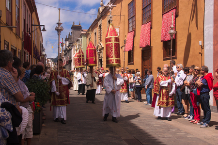 September 2016. San Cristobal de la Laguna, Tenerife, Spain. Image of the religious who participate in the procession of the Holy Christ in San Cristobal de la Laguna Редакционное