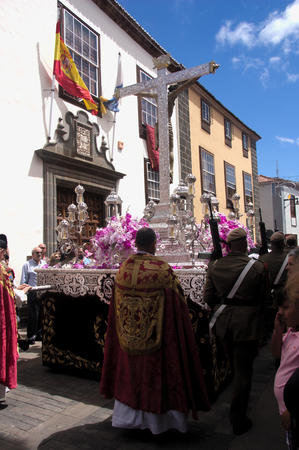 September 2016. San Cristobal de la Laguna, Tenerife, Spain. Image of the Blessed Christ during one of the transfers that take place at parties in honor of Christ Редакционное