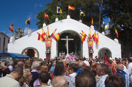 September 2016. SC de Tenerife, Spain. The image of the Holy Christ entering the Royal Sanctuary in San Cristobal de la Laguna