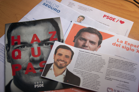 April 2019.Spain. Electoral propaganda of the different parties that attend the elections to elect the president of Spain. Редакционное