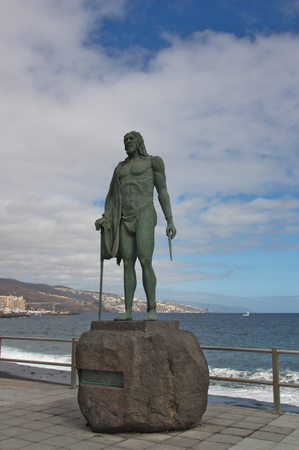 January 2018. La Candelaria, SC Tenerife, Spain. Statue representing Acaimo, one of the Menceyes Kings that had the island of Tenerife before the arrival on the island of the Spaniards