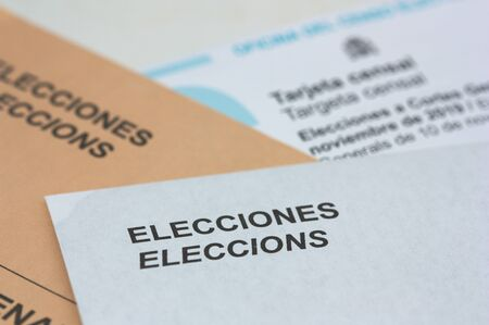 Valencia, Spain. November, 2019. Ballots of the office of the electoral census with electoral envelopes for the elections to the general courts of the Spanish state