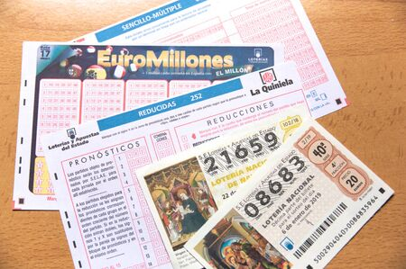 November 2019. Spain. Lottery tickets and bets of the Spanish state: Euromillions, football pool and national lottery. Stock Photo