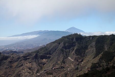 Landscape of the island of Tenerife with the peak of Teide volcano in the background