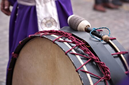 Close-up of a drum used during Holy Week in some Spanish cities for the traditional tamborrada on Good Friday