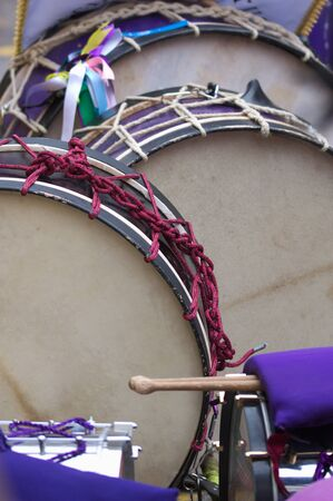 Vertical image where we see several drums with which the drumming is celebrated during the Friday of Holy Week Banco de Imagens