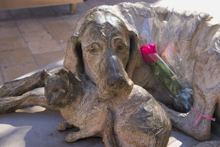 February, 2020. Valencia, Spain. Close-up of the statue dedicated to abandoned dogs and cats to which they have put a flower