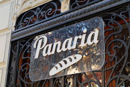 February 2020. Valencia, Spain. Close-up of the trademark of the cafeteria and bakery company Panaria. Editöryel