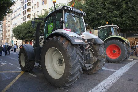 February 2020. Valencia, Spain. Tractors participating in the mass protest in the city of Valencia to publicize the problems that the primary sector has, such as agriculture, livestock, among others