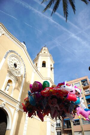 February 2020. Torrent, Valencia, Spain. Image from the floor of the bell tower of the church of San Luis Beltrán de Torrent (Valencia, Spain) a holiday in which first we see balloons for children