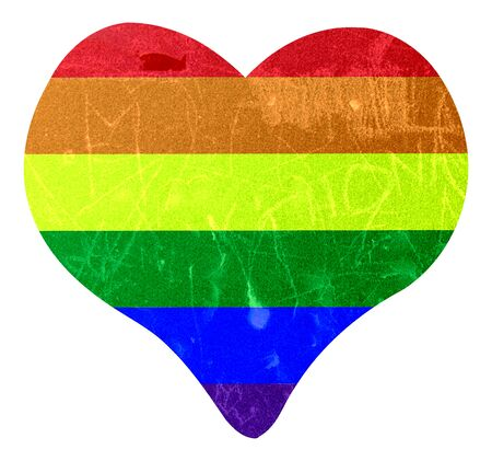 Heart over white with the flag of the LGTBI movement inside with worn texture