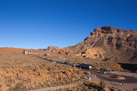 From Los Roques de García in the Teide natural park you can see the trail of tourists visiting the park on any day of the year