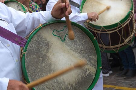Close-up of a typical drum from the island of El Hierro during a pilgrimage in the Canary Islands