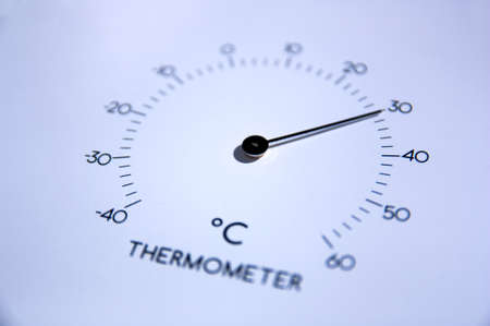 Close-up of an analog thermometer that measures the ambient temperature in degrees Celsius from -40ºC to 60ºC