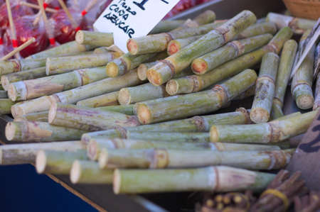 Closeup of a pile of sugar canes for sale on an open air flea market stall Stock Photo