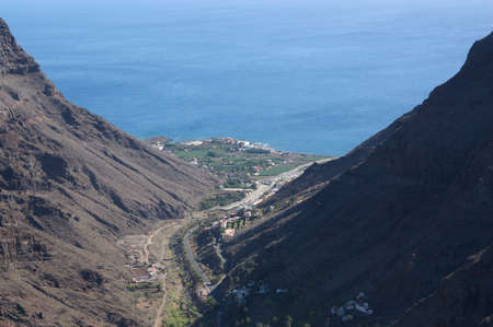 Panoramic view from the top of Valle Gran Rey from a high point on the island of La Gomera in the Canary Islands
